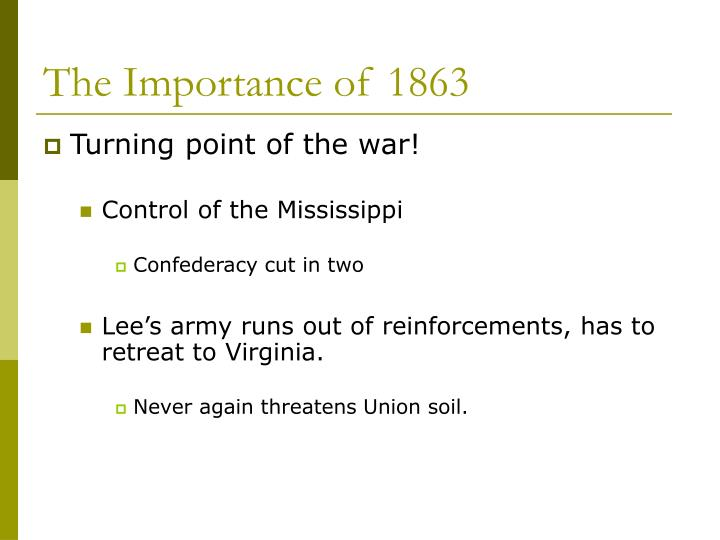 The Importance of 1863