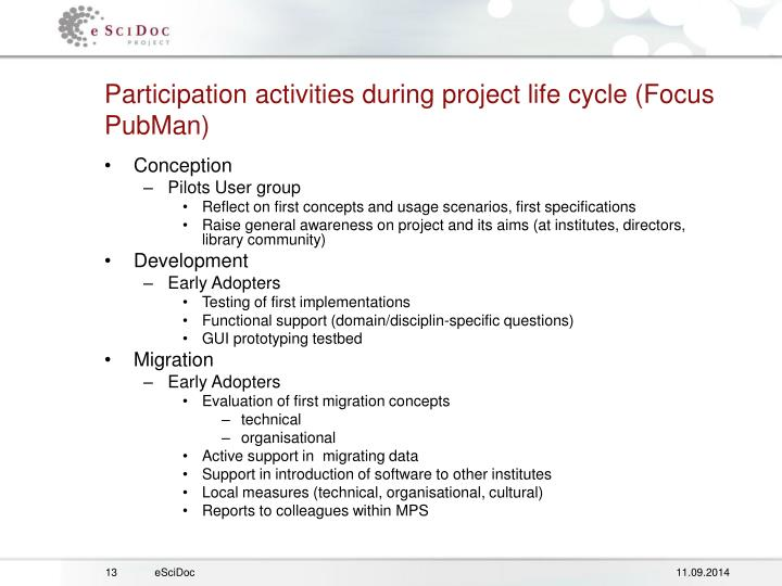 Participation activities during project life cycle (Focus PubMan)