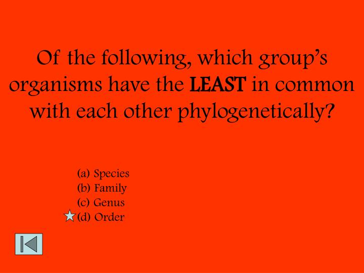 Of the following, which group's organisms have the