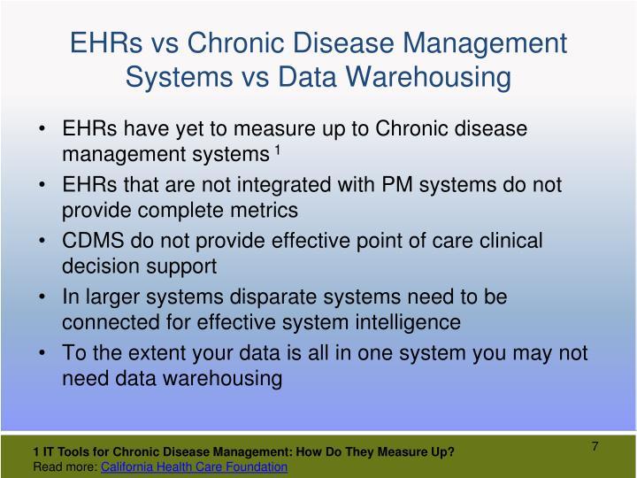 EHRs vs Chronic Disease Management Systems vs Data Warehousing