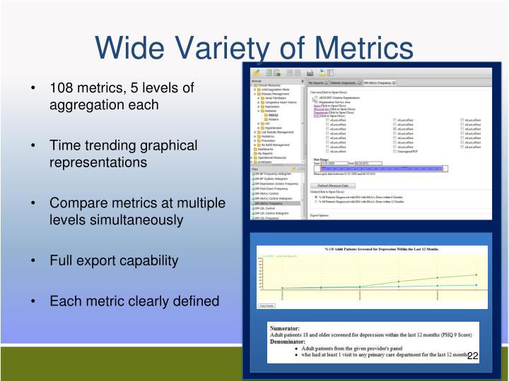 Wide Variety of Metrics