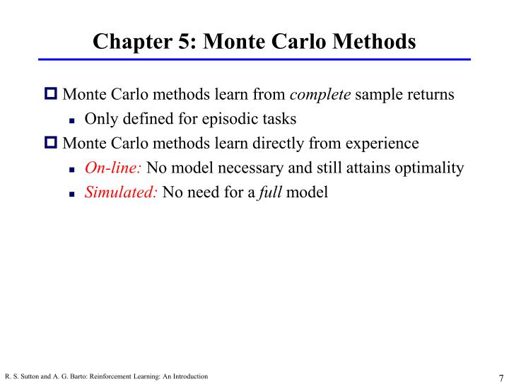 Chapter 5: Monte Carlo Methods