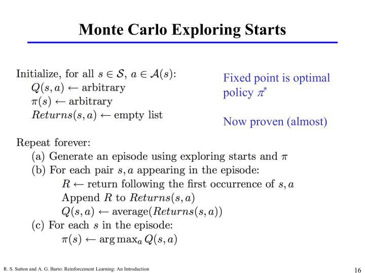 Monte Carlo Exploring Starts