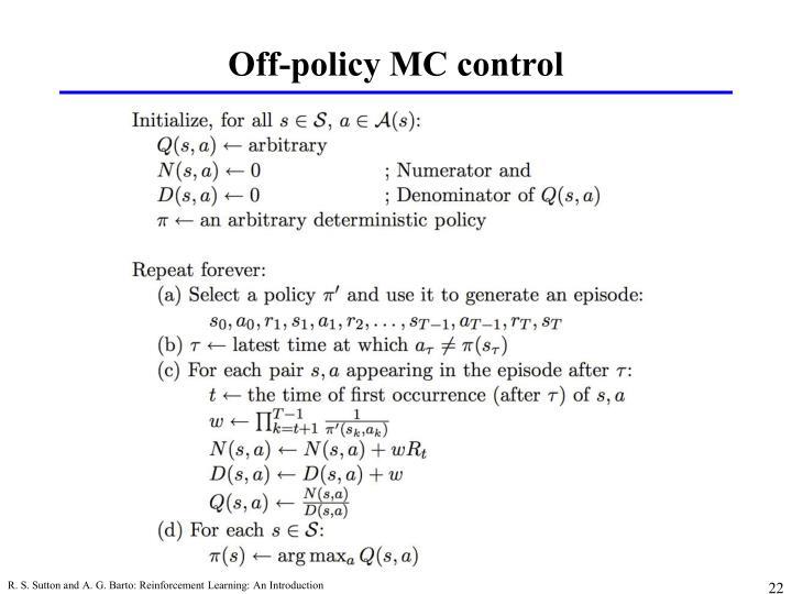 Off-policy MC control