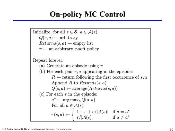 On-policy MC Control