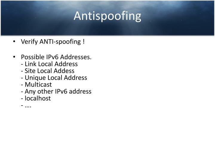 Antispoofing