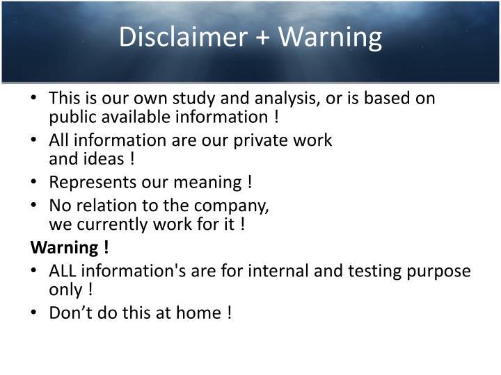 Disclaimer warning