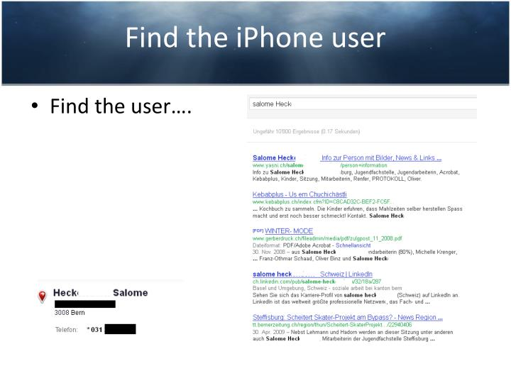 Find the iPhone user