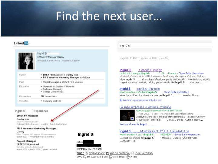 Find the next user…