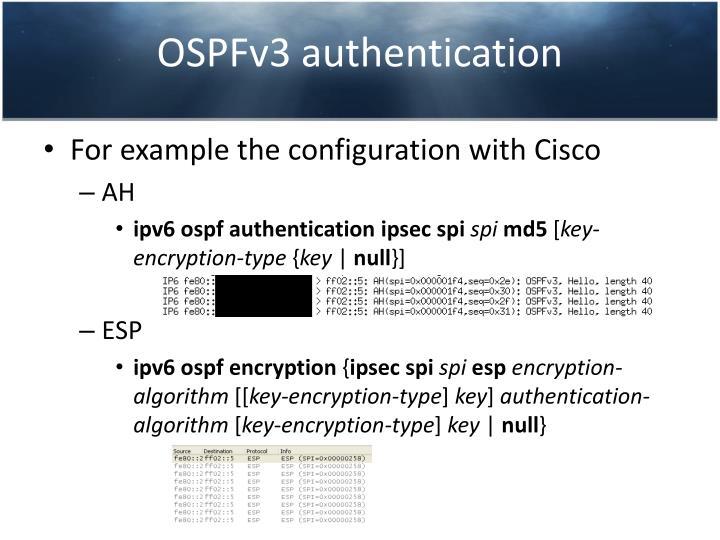 OSPFv3 authentication