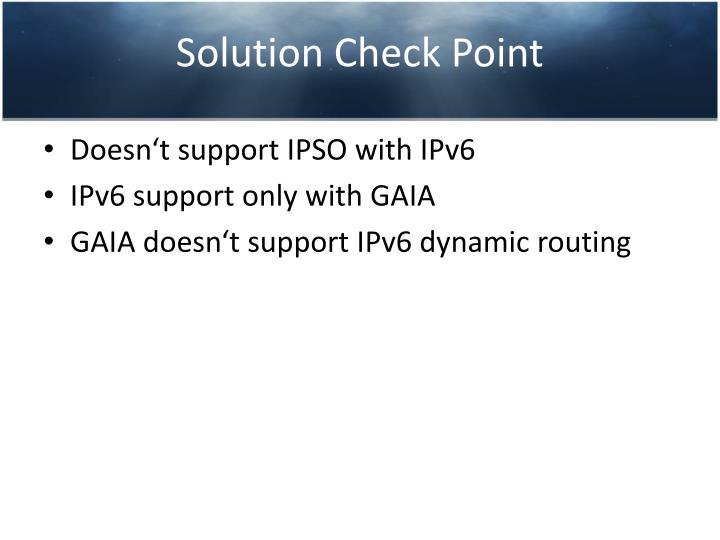 Solution Check Point