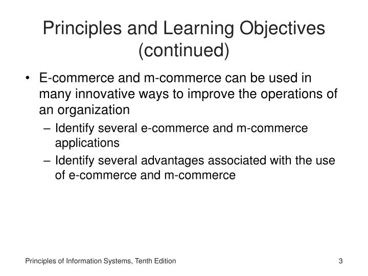 Principles and learning objectives continued