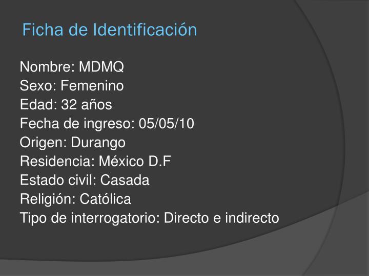 Ficha de identificaci n