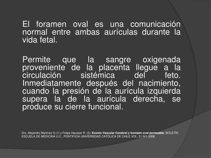 El foramen oval es una comunicación