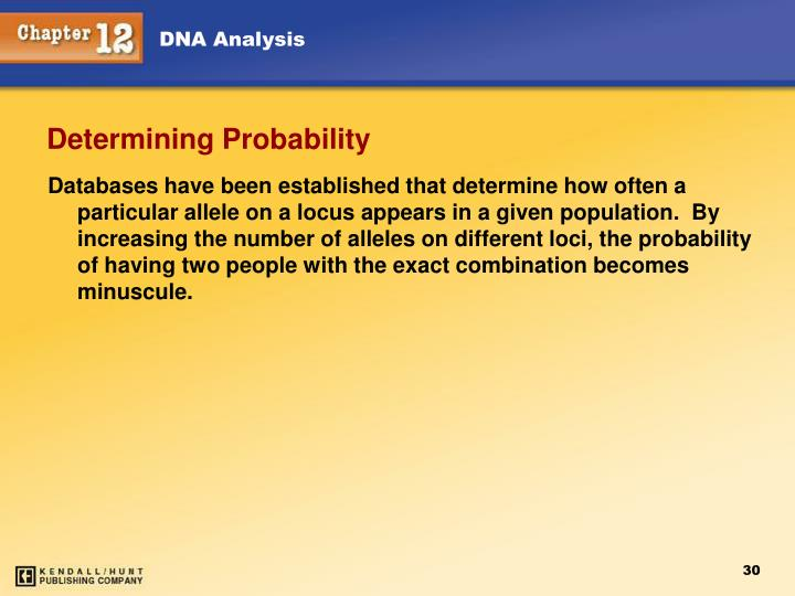 Databases have been established that determine how often a particular allele on a locus appears in a given population.  By increasing the number of alleles on different loci, the probability of having two people with the exact combination becomes minuscule.