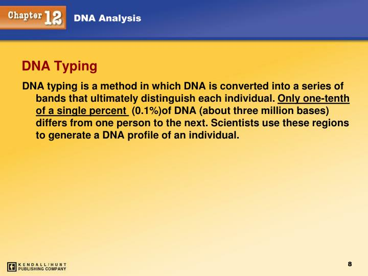 DNA typing is a method in which DNA is converted into a series of bands that ultimately distinguish each individual.