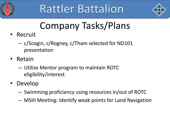 Company Tasks/Plans