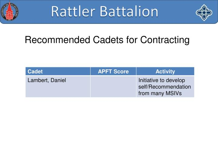 Recommended Cadets for Contracting