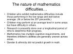 the nature of mathematics difficulties