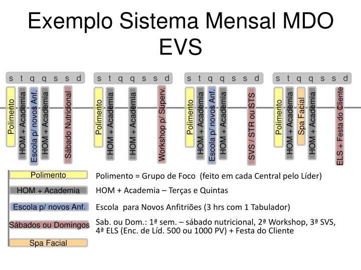 Exemplo Sistema Mensal MDO EVS