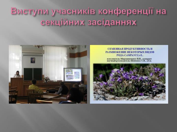 Виступи учасників конференції на секційних засіданнях