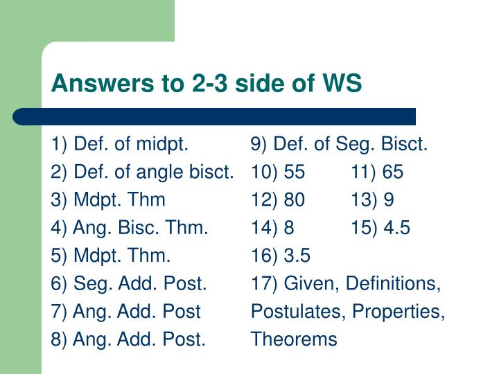 Answers to 2 3 side of ws