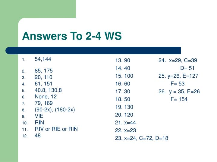 Answers to 2 4 ws