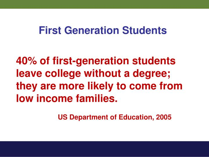 40% of first-generation students leave college without a degree; they are more likely to come from low income families.