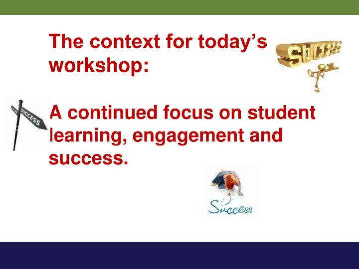 The context for today s workshop a continued focus on student learning engagement and success