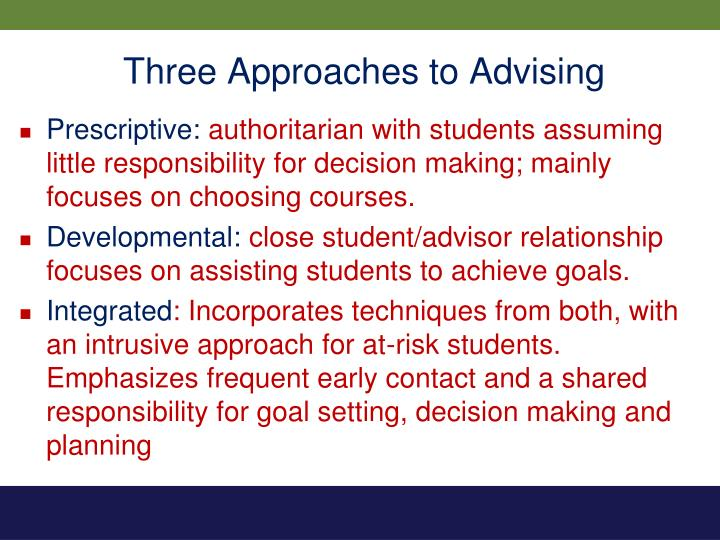 Three Approaches to Advising