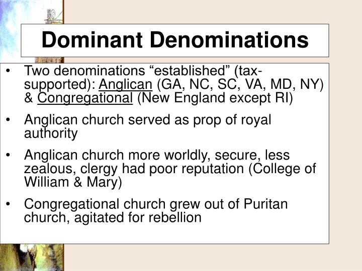 """Two denominations """"established"""" (tax-supported):"""
