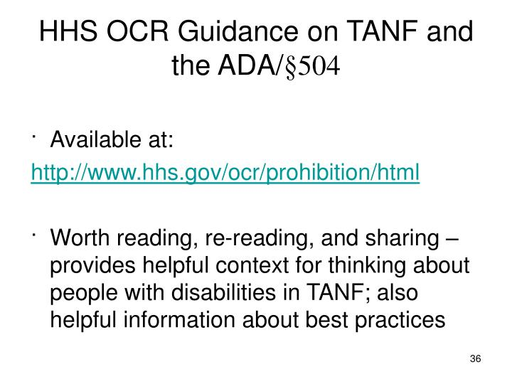 HHS OCR Guidance on TANF and the ADA/