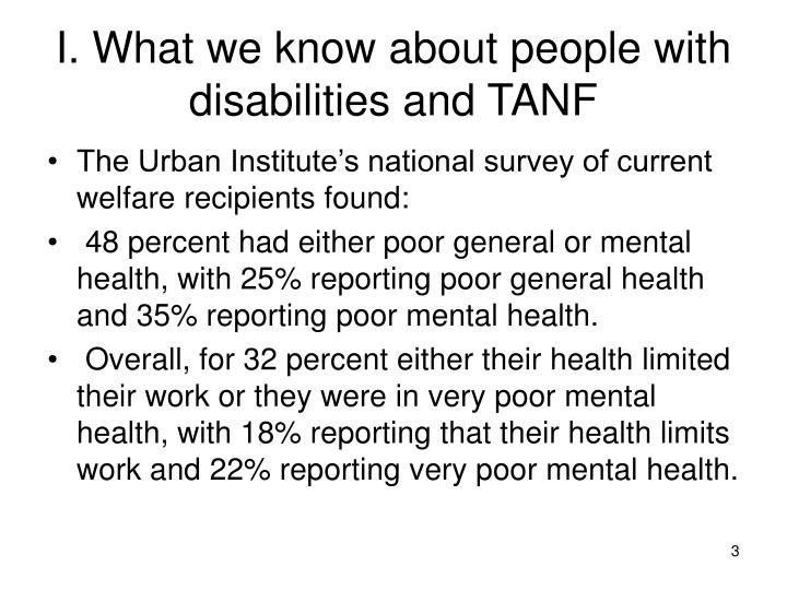 I what we know about people with disabilities and tanf