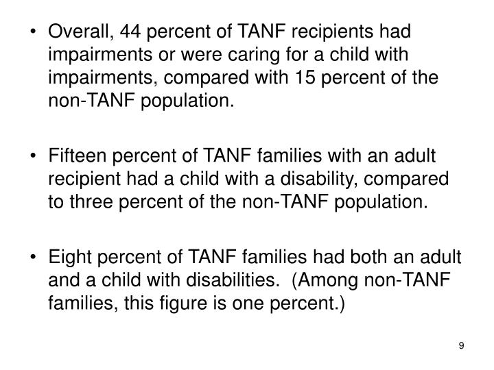 Overall, 44 percent of TANF recipients had impairments or were caring for a child with impairments, compared with 15 percent of the non-TANF population.