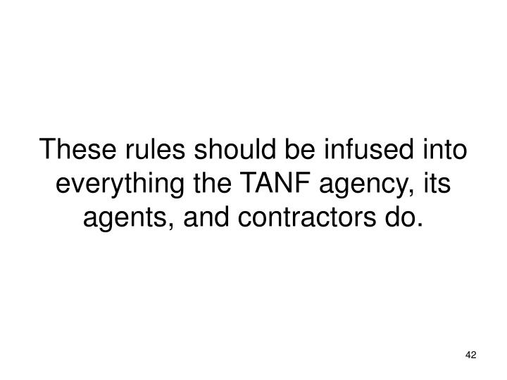 These rules should be infused into everything the TANF agency, its agents, and contractors do.