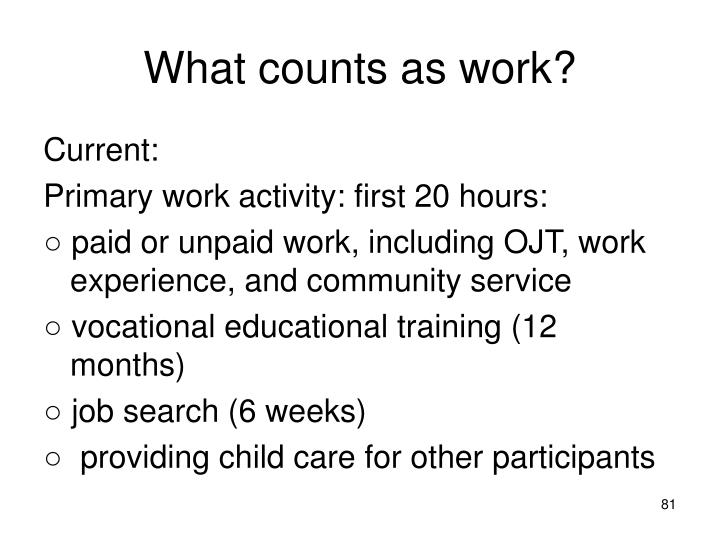 What counts as work?