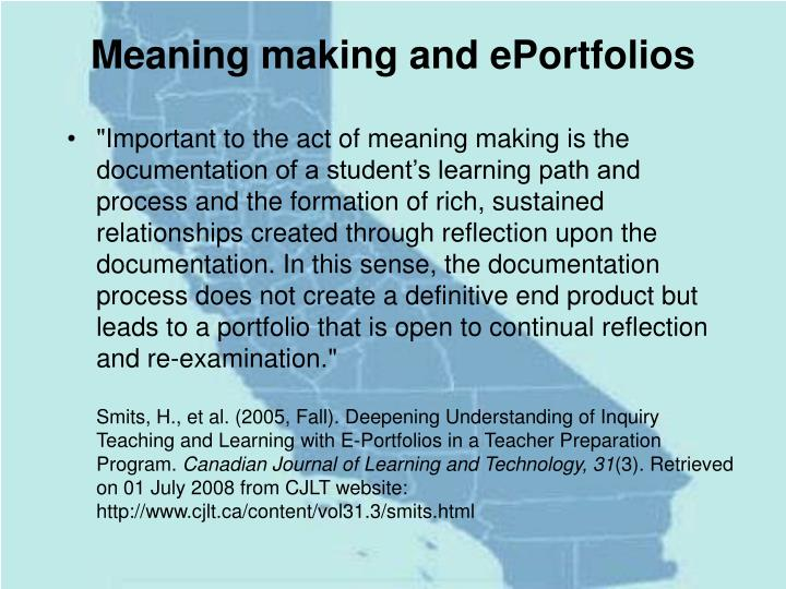 Meaning making and ePortfolios