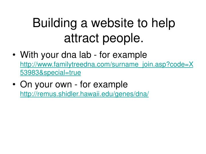 Building a website to help attract people.