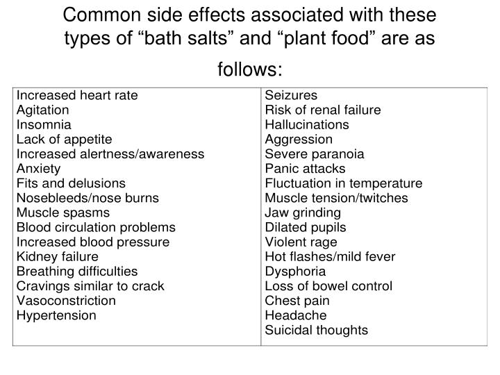 """Common side effects associated with these types of """"bath salts"""" and """"plant food"""" are as follows:"""
