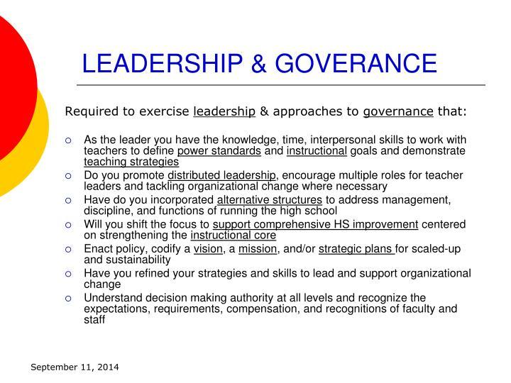 Leadership goverance