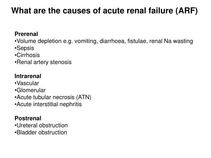 What are the causes of acute renal failure (ARF)