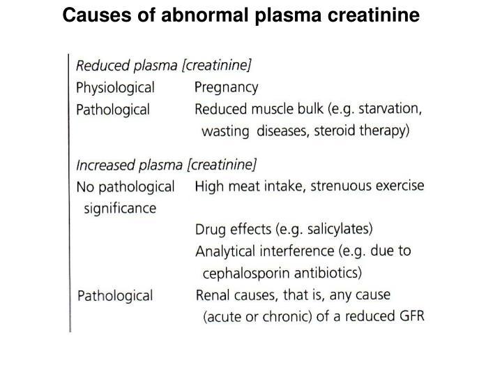 Causes of abnormal plasma creatinine