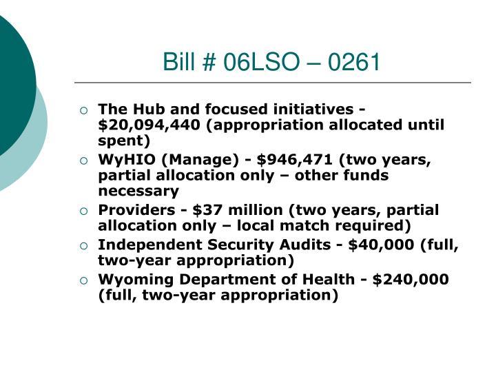 Bill # 06LSO – 0261
