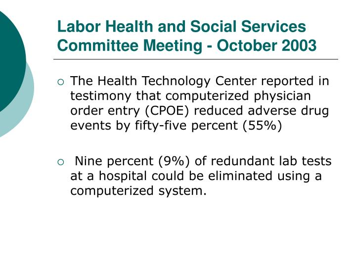 Labor Health and Social Services Committee Meeting - October 2003