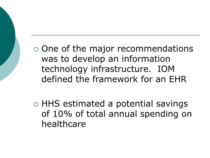 One of the major recommendations was to develop an information technology infrastructure.  IOM defined the framework for an EHR