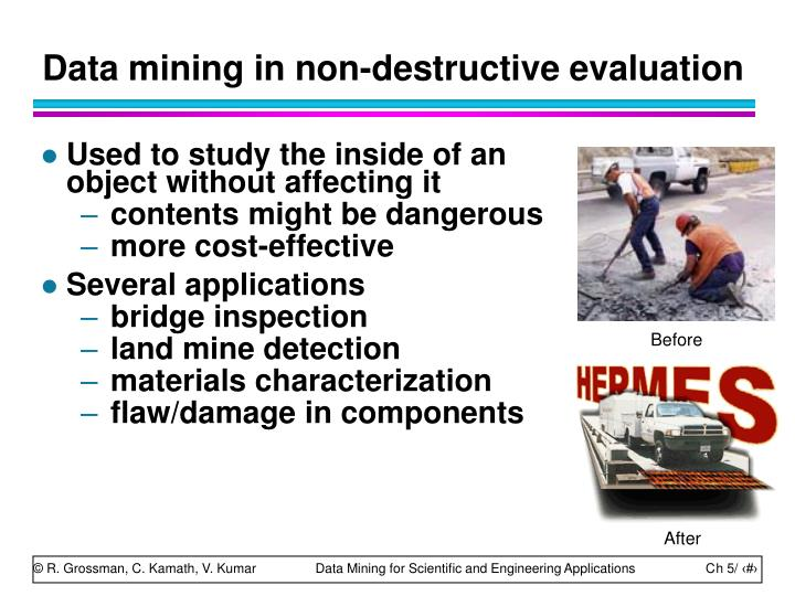 Data mining in non-destructive evaluation
