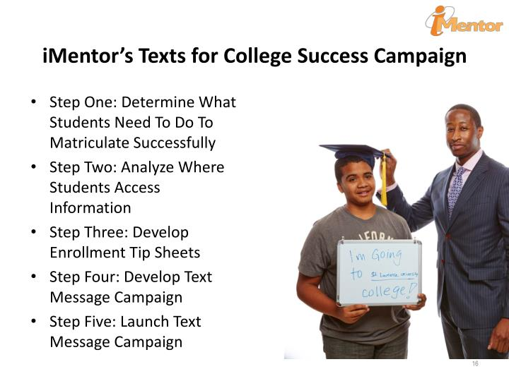 iMentor's Texts for College Success Campaign