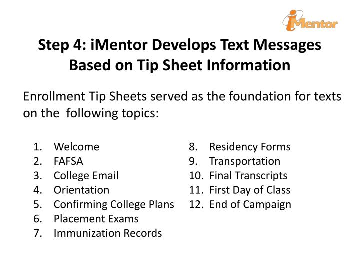 Step 4: iMentor Develops Text Messages Based on Tip Sheet Information