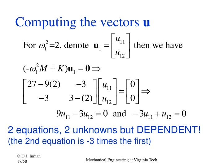 Computing the vectors