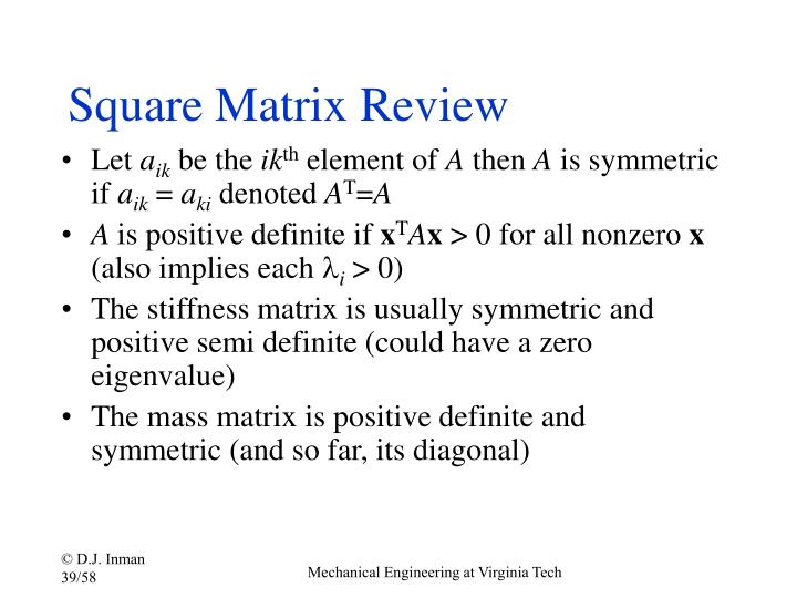 Square Matrix Review